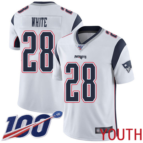 New England Patriots Football 28 Vapor Untouchable 100th Season Limited White Youth James White Road NFL Jersey