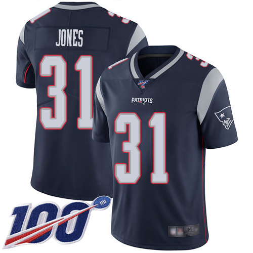 New England Patriots Football 31 100th Limited Navy Blue Men Jonathan Jones Home NFL Jersey