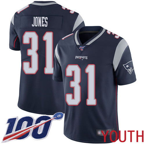 New England Patriots Football 31 100th Limited Navy Blue Youth Jonathan Jones Home NFL Jersey