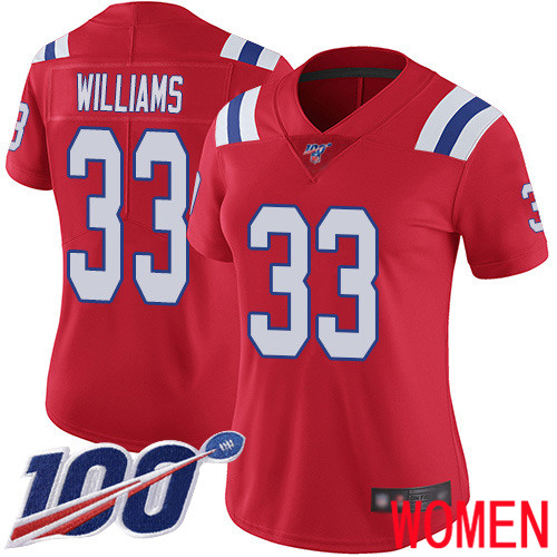 New England Patriots Football 33 100th Limited Red Women Joejuan Williams Alternate NFL Jersey