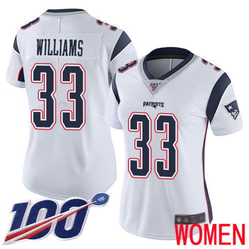 New England Patriots Football 33 100th Limited White Women Joejuan Williams Road NFL Jersey