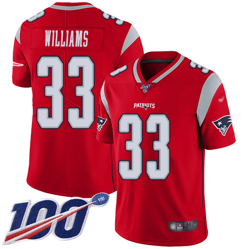 New England Patriots Football 33 100th Season Inverted Limited Red Men Joejuan Williams NFL Jersey