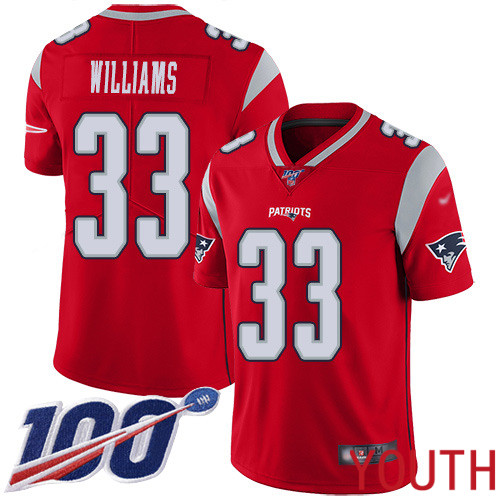New England Patriots Football 33 100th Season Inverted Limited Red Youth Joejuan Williams NFL Jersey