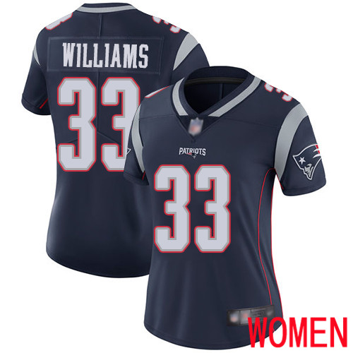 New England Patriots Football 33 Vapor Limited Navy Blue Women Joejuan Williams Home NFL Jersey