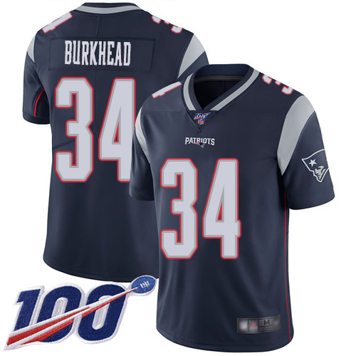 Wholesale New England Patriots Football 34 100th Season Limited Navy Blue Men Rex Burkhead Home NFL Jersey