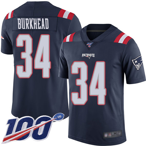 New England Patriots Football 34 100th Season Rush Limited Navy Blue Men Rex Burkhead NFL Jersey