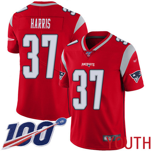 New England Patriots Football 37 100th Season Inverted Limited Red Youth Damien Harris NFL Jersey