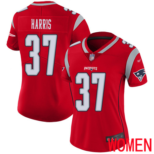 New England Patriots Football 37 Inverted Legend Limited Red Women Damien Harris NFL Jersey