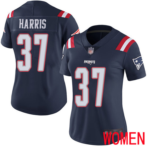 New England Patriots Football 37 Rush Vapor Limited Navy Blue Women Damien Harris NFL Jersey