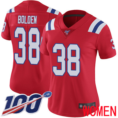 Wholesale New England Patriots Football 38 100th Limited Red Women Brandon Bolden Alternate NFL Jersey
