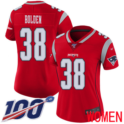 New England Patriots Football 38 100th Season Limited Red Women Brandon Bolden NFL Jersey