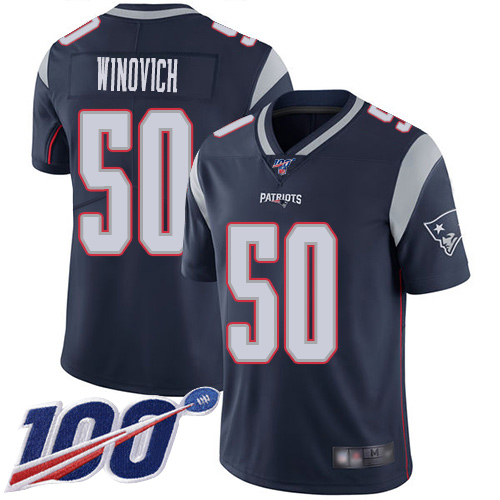 New England Patriots Football 50 100th Limited Navy Blue Men Chase Winovich Home NFL Jersey