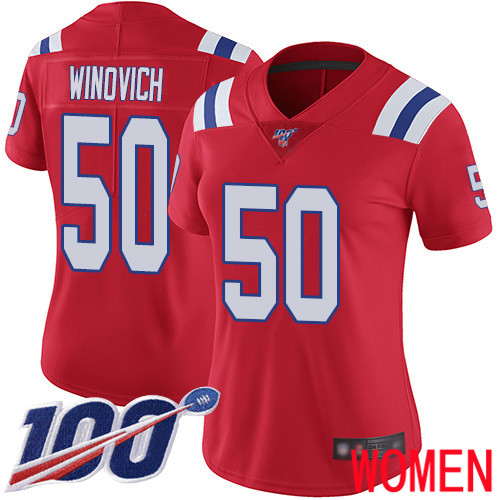 New England Patriots Football 50 100th Limited Red Women Chase Winovich Alternate NFL Jersey