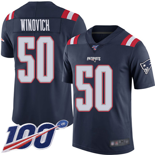 New England Patriots Football 50 100th Season Limited Navy Blue Men Chase Winovich NFL Jersey