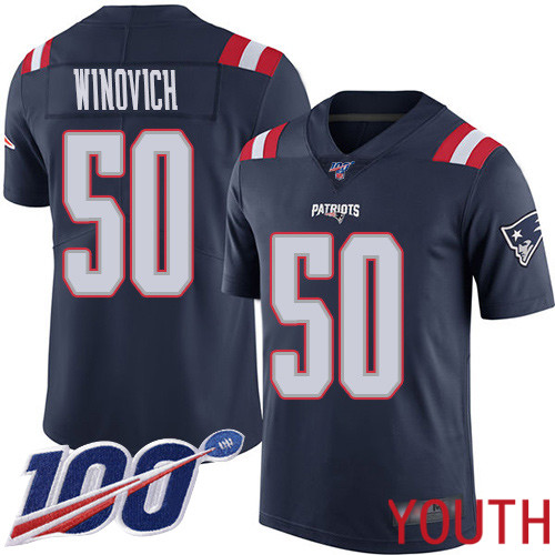 New England Patriots Football 50 100th Season Limited Navy Blue Youth Chase Winovich NFL Jersey