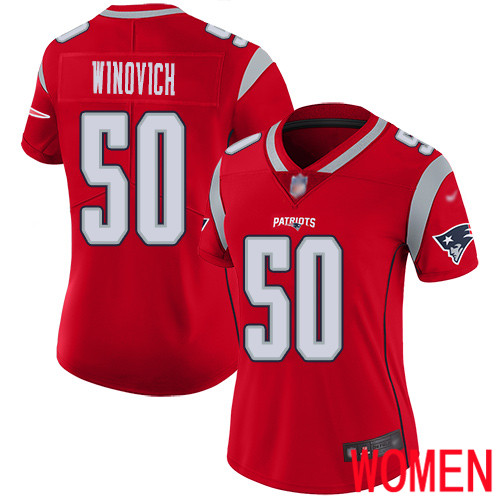 Wholesale New England Patriots Football 50 Inverted Legend Limited Red Women Chase Winovich NFL Jersey