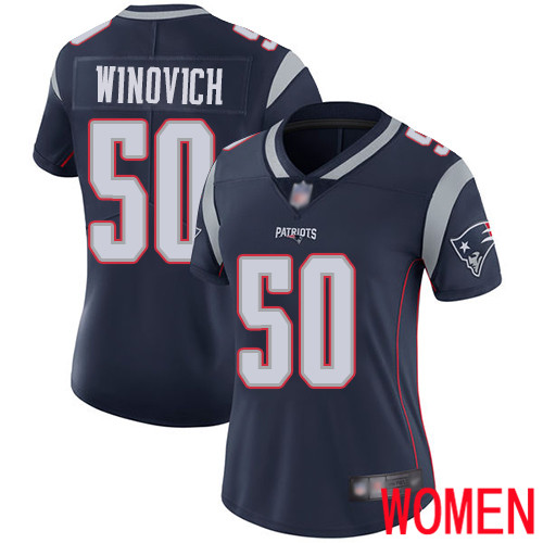 Wholesale New England Patriots Football 50 Vapor Limited Navy Blue Women Chase Winovich Home NFL Jersey