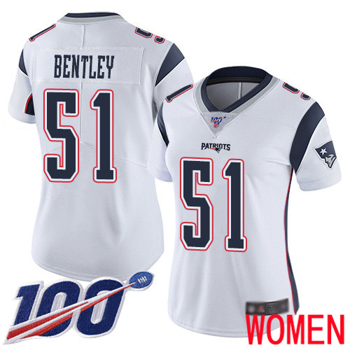 New England Patriots Football 51 100th Limited White Women Ja Whaun Bentley Road NFL Jersey