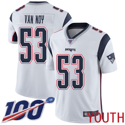 Wholesale New England Patriots Football 53 Vapor Untouchable 100th Season Limited White Youth Kyle Van Noy Road NFL Jersey
