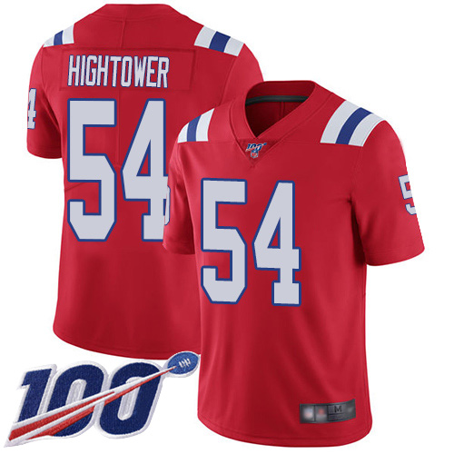 New England Patriots Football 54 100th Limited Red Men Dont a Hightower Alternate NFL Jersey