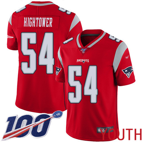 New England Patriots Football 54 100th Season Limited Red Youth Dont a Hightower NFL Jersey