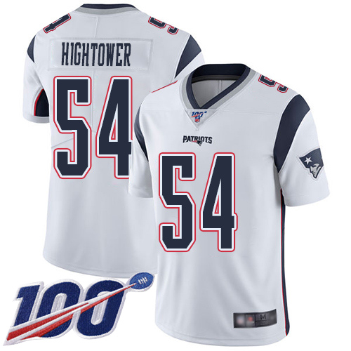 New England Patriots Football 54 100th Season Limited White Men Dont a Hightower Road NFL Jersey