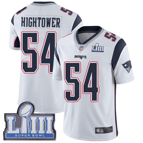 Wholesale New England Patriots Football 54 Super Bowl Limited White Men Dont a Hightower Road NFL Jersey