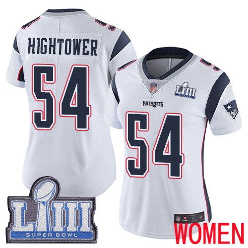 Wholesale New England Patriots Football 54 Super Bowl Limited White Women Dont a Hightower Road NFL Jersey