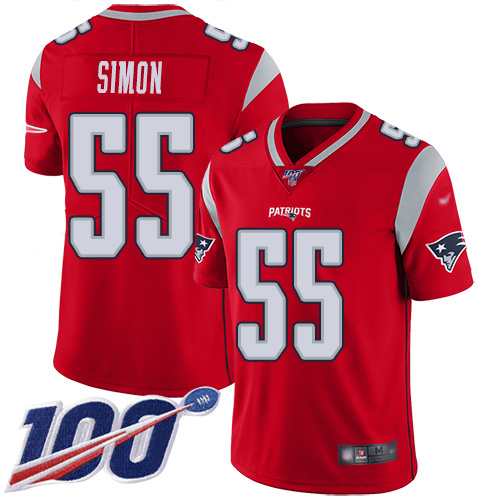 New England Patriots Football 55 100th Season Inverted Legend Limited Red Men John Simon NFL Jersey