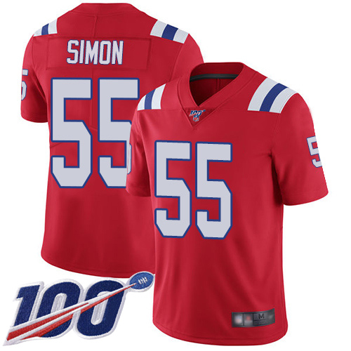 New England Patriots Football 55 Vapor Untouchable 100th Season Limited Red Men John Simon Alternate NFL Jersey