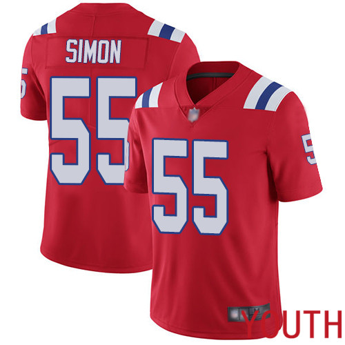 New England Patriots Football 55 Vapor Untouchable Limited Red Youth John Simon Alternate NFL Jersey