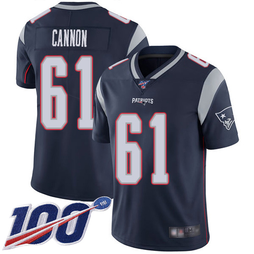New England Patriots Football 61 100th Limited Navy Blue Men Marcus Cannon Home NFL Jersey