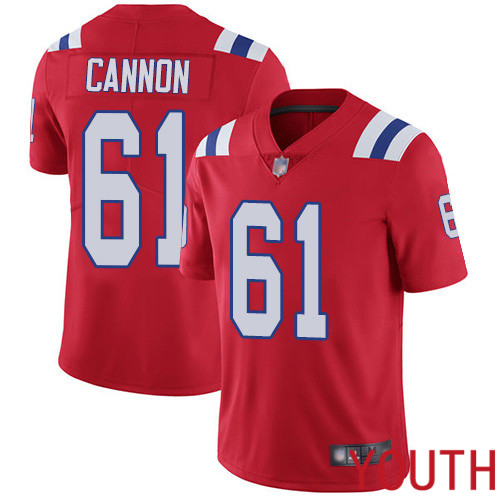 New England Patriots Football 61 Vapor Limited Red Youth Marcus Cannon Alternate NFL Jersey