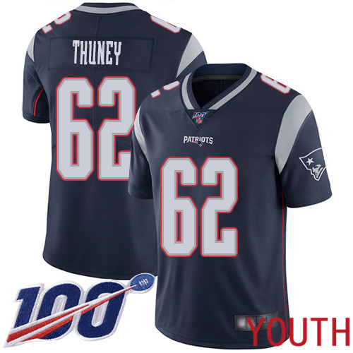 New England Patriots Football 62 Vapor Untouchable 100th Season Limited Navy Blue Youth Joe Thuney Home NFL Jersey