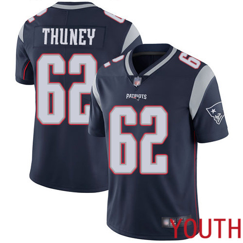 Wholesale New England Patriots Football 62 Vapor Untouchable Limited Navy Blue Youth Joe Thuney Home NFL Jersey