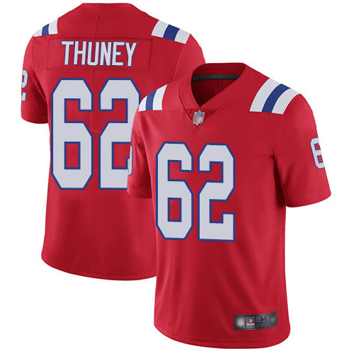 Wholesale New England Patriots Football 62 Vapor Untouchable Limited Red Men Joe Thuney Alternate NFL Jersey