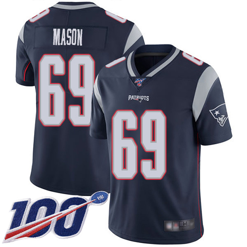 New England Patriots Football 69 100th Season Limited Navy Blue Men Shaq Mason Home NFL Jersey
