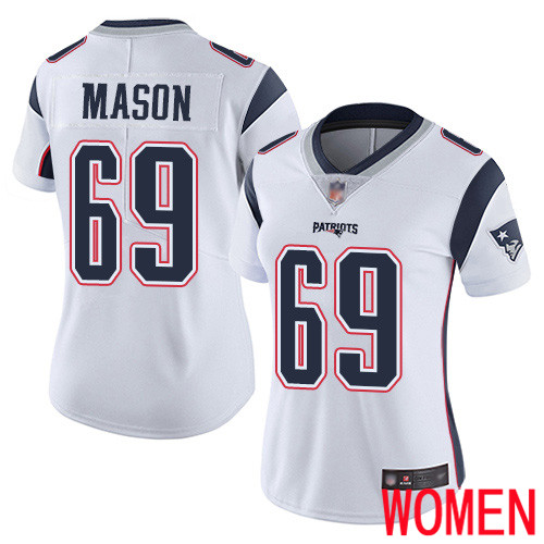 New England Patriots Football 69 Vapor Untouchable Limited White Women Shaq Mason Road NFL Jersey