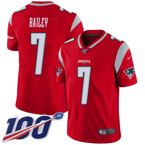 New England Patriots Football 7 100th Season Inverted Legend Limited Red Men Jake Bailey NFL Jersey