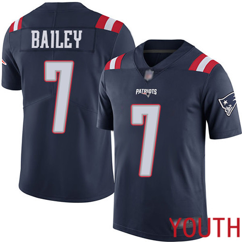 New England Patriots Football 7 Rush Vapor Untouchable Limited Navy Blue Youth Jake Bailey NFL Jersey