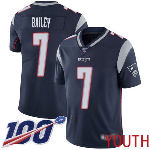 New England Patriots Football 7 Vapor Untouchable 100th Season Limited Navy Blue Youth Jake Bailey Home NFL Jersey