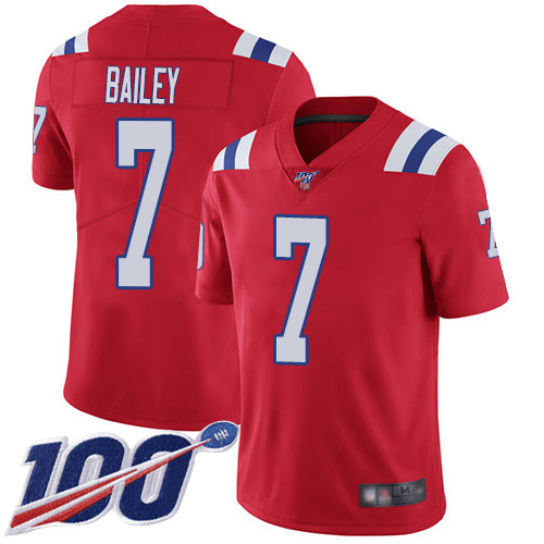 New England Patriots Football 7 Vapor Untouchable 100th Season Limited Red Men Jake Bailey Alternate NFL Jersey