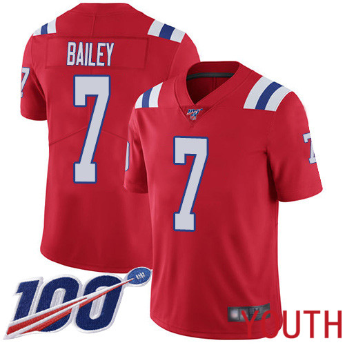 New England Patriots Football 7 Vapor Untouchable 100th Season Limited Red Youth Jake Bailey Alternate NFL Jersey