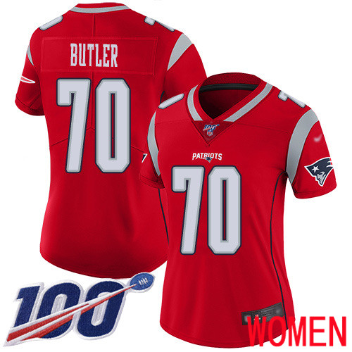 New England Patriots Football 70 100th Season Inverted Limited Red Women Adam Butler NFL Jersey