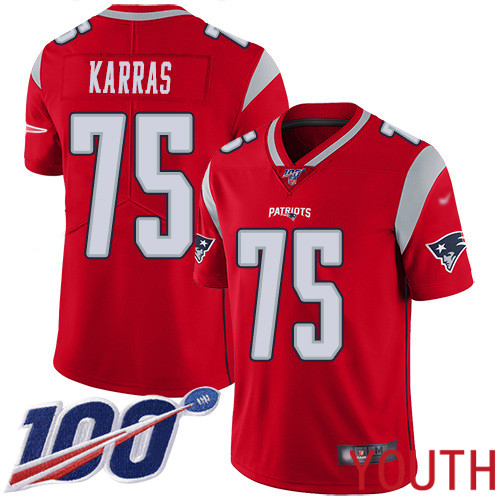 New England Patriots Football 75 100th Season Inverted Legend Limited Red Youth Ted Karras NFL Jersey