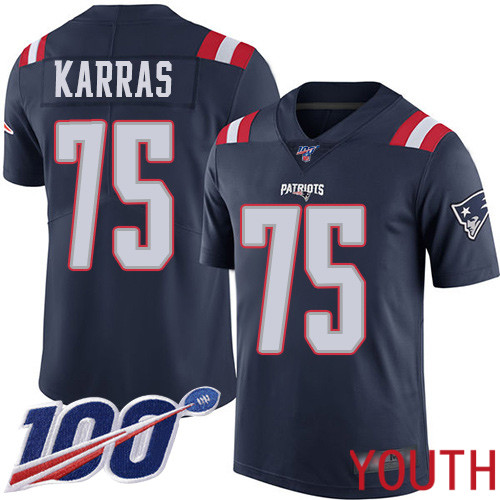 New England Patriots Football 75 100th Season Rush Vapor Limited Navy Blue Youth Ted Karras NFL Jersey