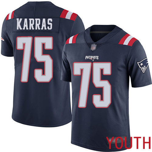 New England Patriots Football 75 Rush Vapor Untouchable Limited Navy Blue Youth Ted Karras NFL Jersey