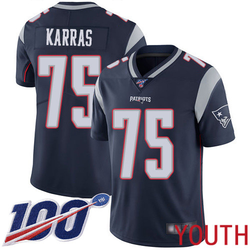 New England Patriots Football 75 Vapor Untouchable 100th Season Limited Navy Blue Youth Ted Karras Home NFL Jersey