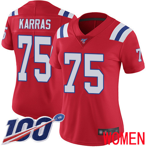 New England Patriots Football 75 Vapor Untouchable 100th Season Limited Red Women Ted Karras Alternate NFL Jersey