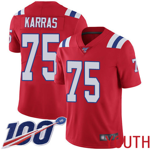 New England Patriots Football 75 Vapor Untouchable 100th Season Limited Red Youth Ted Karras Alternate NFL Jersey